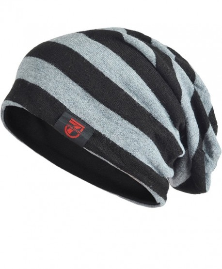 Stylish Men Women Slouch Beanie Basic Skull Cap Designer B010 - Black With Grey - CL187OOKQUA