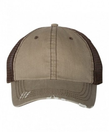 Mega Cap 6990 - Herringbone Unstructured Trucker Cap - Khaki/ Brown - C1188Z94C77