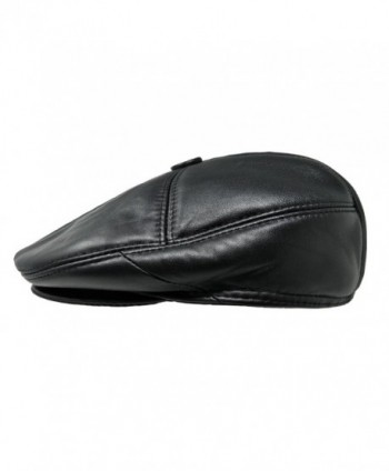 TangTown Soft Lambskin Leather Flat Cap Gatsby Newsboy Driving Warm Winter Ivy Hat - Black - CK183LI6HHO
