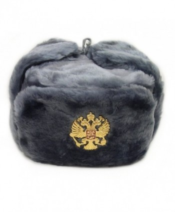 Russian Hat with Ear Flaps Gray Ushanka Hat (M) - CN11B7HW96P