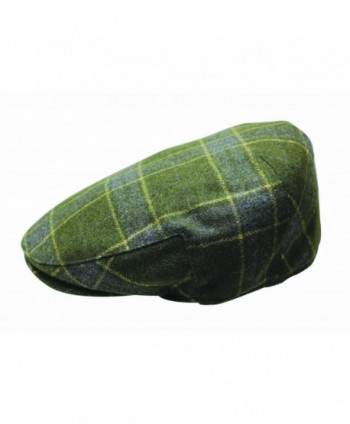 Quiet Man Irish Designed Green Tartan Designed Flat Cap - CH12N1VLPGT