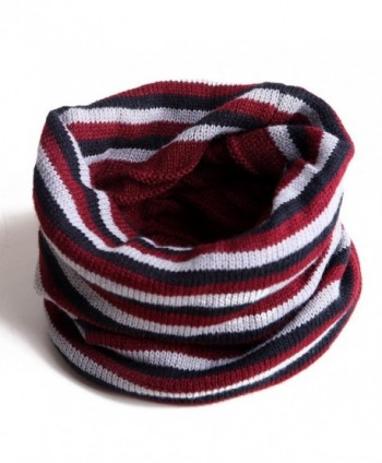 HDE Unisex Reversible Beanie Slouchy Baggy Knit Striped / Solid Ski Neck Warmer - Red - CU11HT3D93N