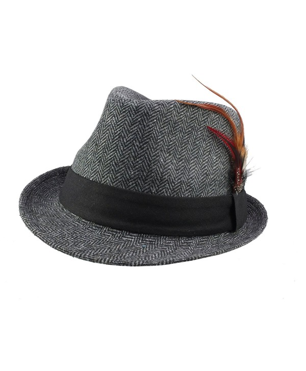 Revive Online Men's 1940's / 1950's Style Herringbone Fedora Hat Retro Americana - Charcoal Grey - CT11NOF9QWN
