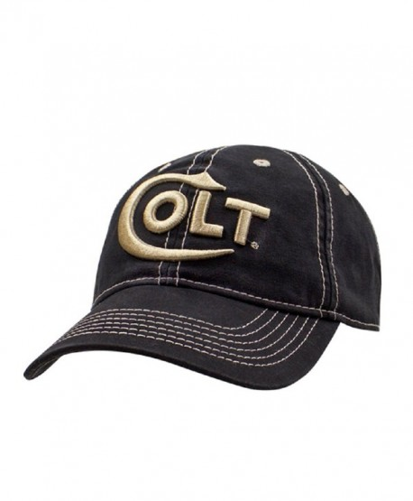 Colt Firearms Hat Baseball Cap Black w/ Gold Embroidered Logo Everest - CZ12KL29E9V