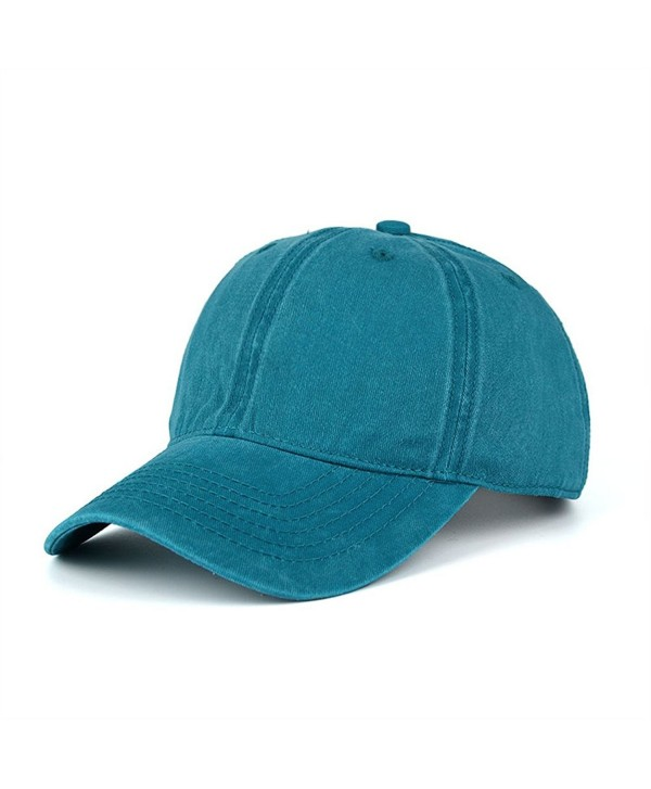 CANCA Vintage Washed Dyed Cotton Twill Low Profile Adjustable Baseball Cap - Lake Blue - CH183NKOCRC