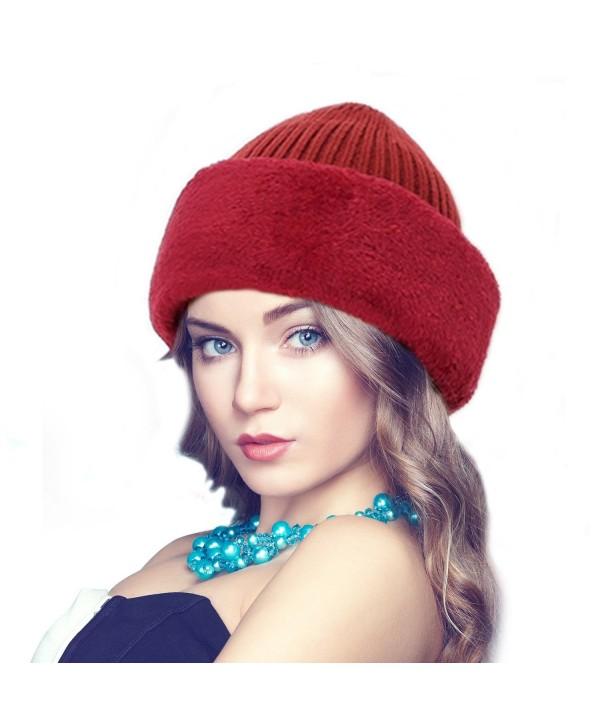 Firestrive Winter Warm Knitted Wool Fleece Lined Balaclava/Ski Mask - Red - CU1887RC6WN