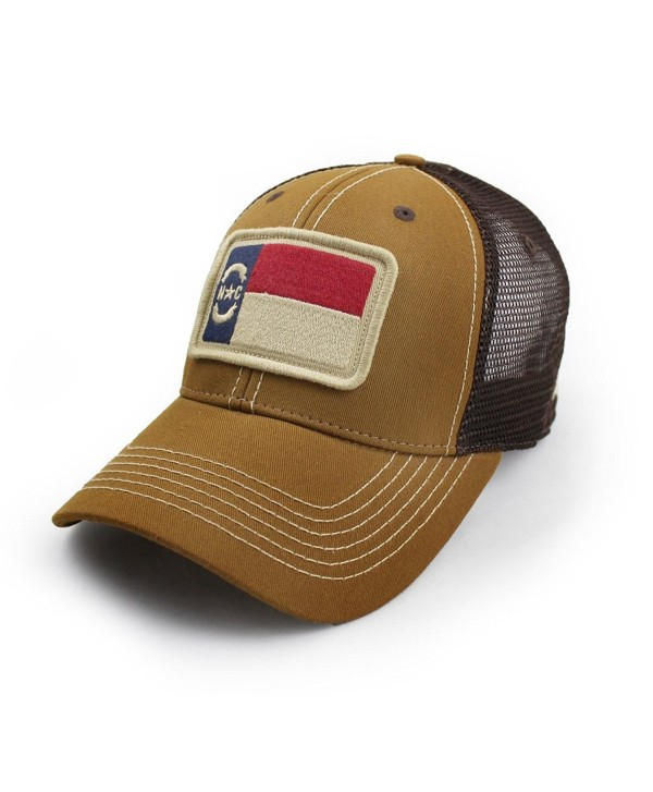 State Legacy Revival North Carolina Flag Trucker Hat- Structured- Tobacco Brown - CC12NZTFM20