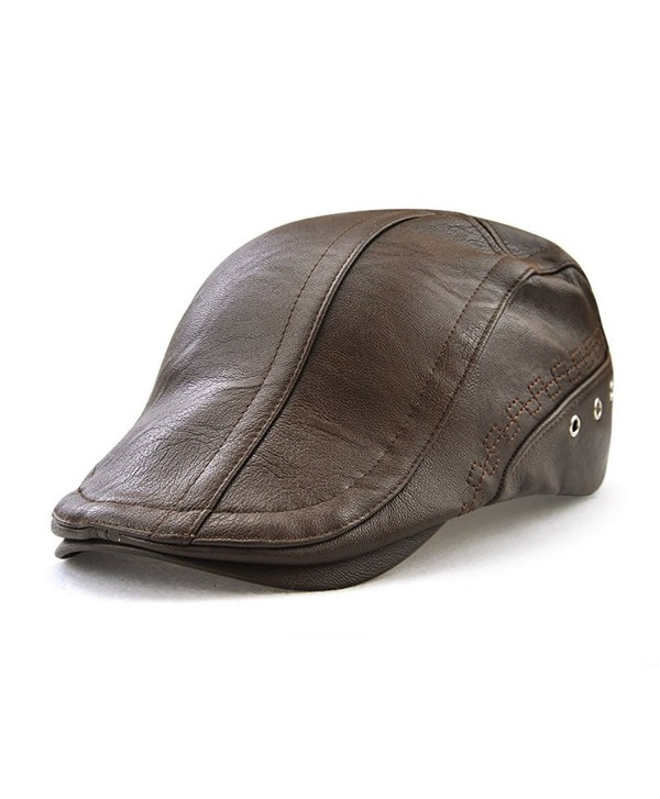 Gudessly Men's Classic Flat IVY Vintage newsboy Driving Cap Golf Hunting Cabby Hat - Light Brown - CC1888LXQXT