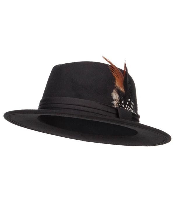 Poly Faux Felt Feather Panama Hat - Black - CZ12MCYCEYX