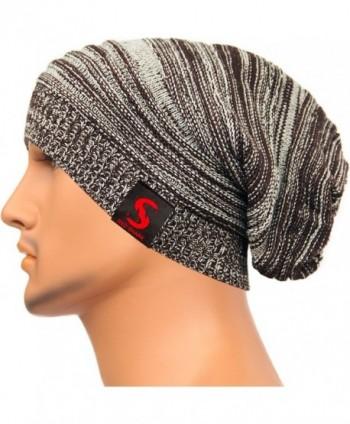REDSHARKS Unisex Baggy Beanie Slouchy Knit Caps Skull Hats Stripe Design XHX1017 - Coffee - CC128YYTT5R