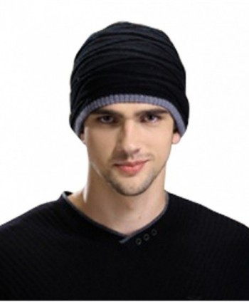 Men's Sport Knit Game Double Sides Can Wear Beanie Hat - Black - CR124OJEHOJ