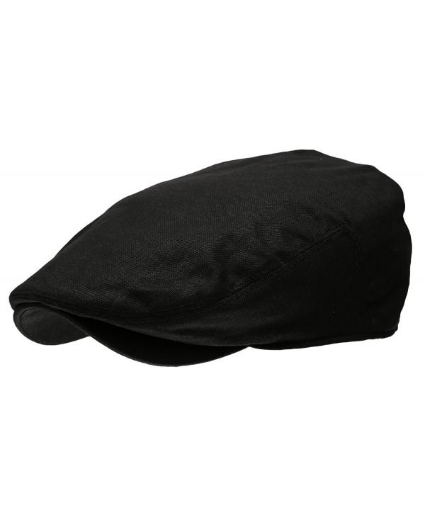 Epoch hats Men's Linen Flat IVY Gatsby Summer newsboy Hats - Black - CV12EBEJ995