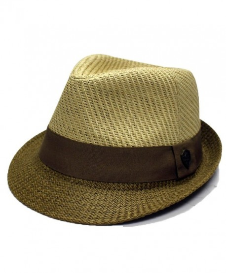 City Hunter Pms390 Pamoa 2 Tone Straw with Cotton Band Summer Fedora (3 Colors ) - Natural/Brown - CT11DQT3OZ7