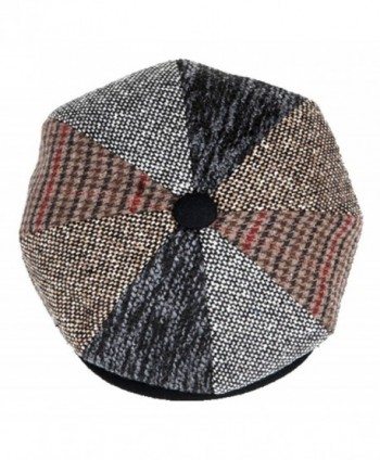 Mens Patchwork Wool Big Apple Duckbill Ivy Newsboy Irish Tweed Cap Hat - CW128AC3JC1