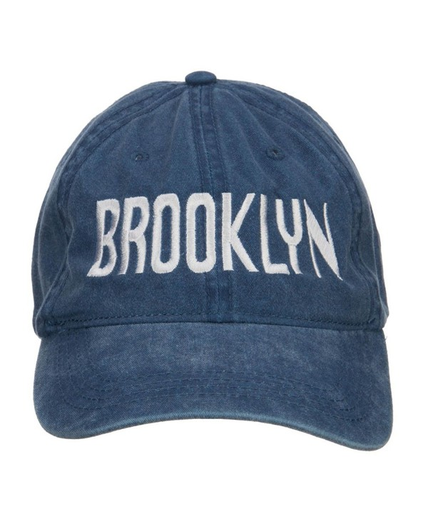 Brooklyn Embroidered Washed Cap - Navy - CB126E5TUC5