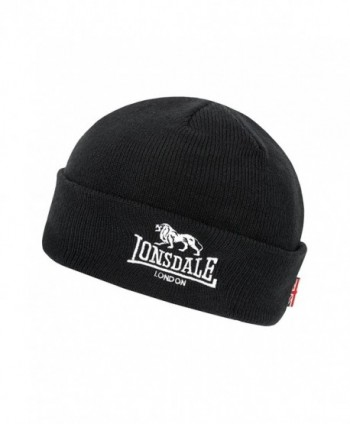 Lonsdale Men&acutes Beanie Hat Cap Black Embroided Lion Logo and Union Jack Flag - CU12OC9Q89L