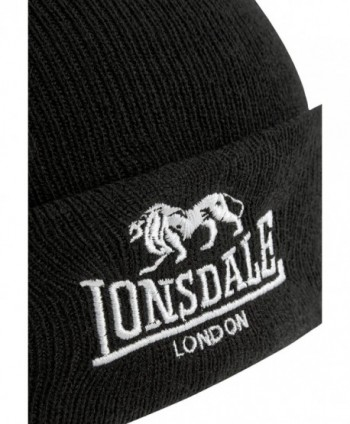 Lonsdale Men%C2%B4s Beanie Black Embroided in Men's Skullies & Beanies