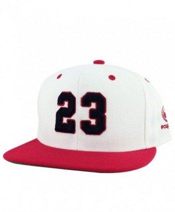 Number 23 White Red Visor Hip Hop Snapback Hat Cap x Air Jordan Color - CM11OSJ8UPD