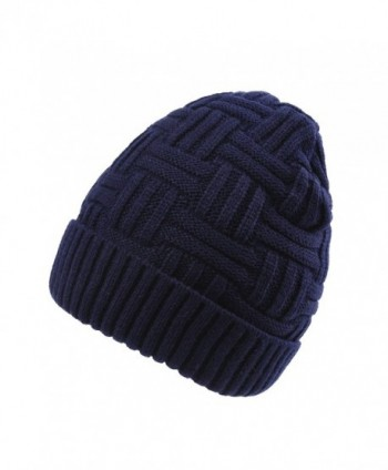 JOYEBUY Men Women Winter Skull Cap Warm Wool Slouchy Beanie Hat Windproof Hat Valentine's Gift - Navy Blue - CM185UCZMH4