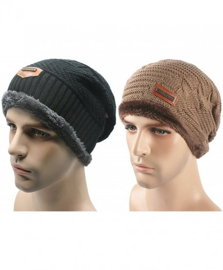 Toptim Mens Soft Lined Thick Skull Cap Unisex Warm Winter Beanies Hat - Black and Khaki - CB188TQGSZM