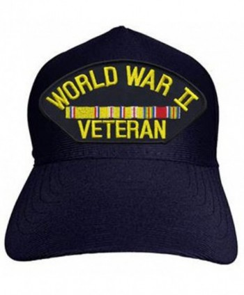 World War II Veteran with Ribbons Baseball Cap. Navy Blue. Made in USA - C812OCKLFW4