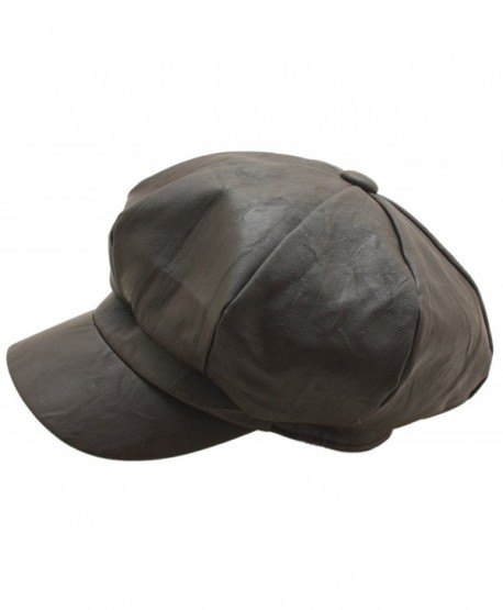 Men's Gatsby Bakerboy Hats Faux Leather 8 Panel Newsboy Flat cap - Brown - CE12M8K2EFZ