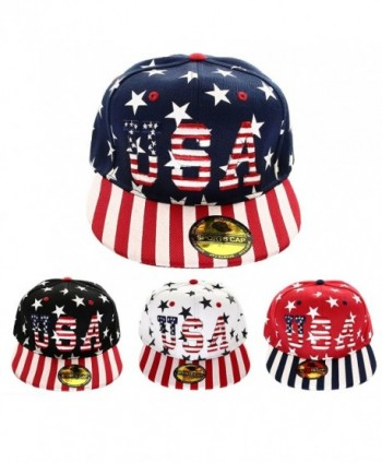 USA American Flag Printed Baseball Cap Snapback Adjustable Size - 4-assorted Colors - CZ187NHE0TQ