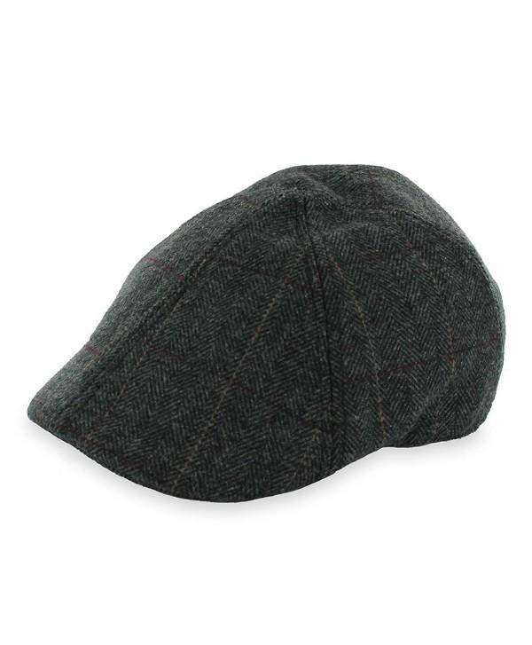 Hats in the Belfry Belfry Headliner Plaid and Herringbone duckbill IVY Pub Cap - Brown - CQ12O9UOE08