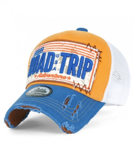 ililily Road Trip Vintage Distressed Snapback Trucker Hat Baseball Cap - Yellow - CX12KINE1P5