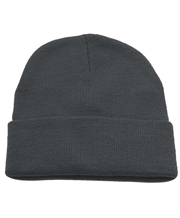Hatter Unisex Beanie With Cuff Plain Solid Color Knit Cap - CA187QSTK6Q