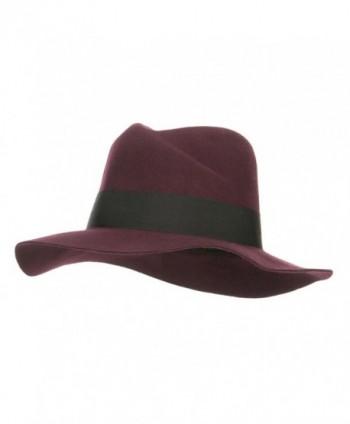 Wool Felt Band Panama Hat - Burgundy - CI126E0N3VJ