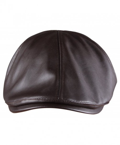 ORSKY PU leather Newsboy Cap for Men Flat Hat Cabby Cap Driving Cap Gatsby Cap - Brown - CO12NAAAC04