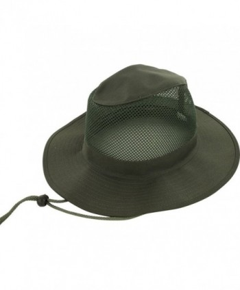 DealStock Adjustable Zip Tie Men Women Wide Brim Summer Outdoor Hat Cap - Green Mesh - CQ1219RVT2H