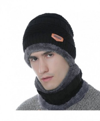 Xianheng Beanie Hat Scarf Set Winter Warm Thick Knit Skull Cap for Men Women - Black - C2188QRUWX3