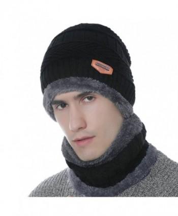 Xianheng Beanie Hat Scarf Set Winter Warm Thick Knit Skull Cap for Men Women - Black - C2188QRUWX3