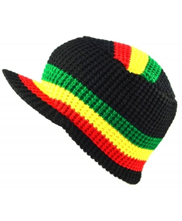 MM Rasta Visor Beanie Skull Cap Stripe Jamaica Reggae Black - CO11RJJZOLR