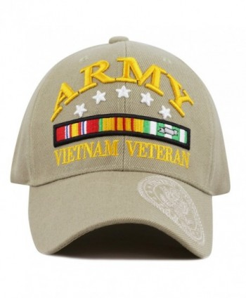 THE HAT DEPOT 1100 Official Licensed 3D Vietnam Veteran Ribbon Logo Cap - Khaki - CV12F7B1LZL