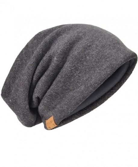 FORBUSITE Men Oversize Skull Slouch Beanie Large skullcap Knit Ski Hat B08 - Dark Gray-010b - CS126KEM919