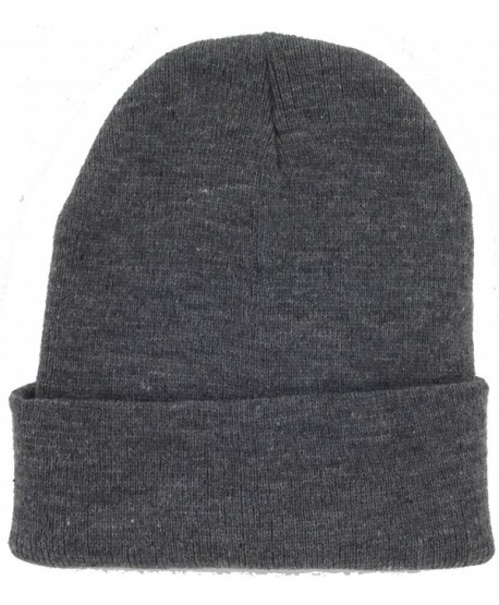Dealstock Plain Knit Cap Cold Winter Cuff Beanie (40+ Colors Available) - Dark Gray - C211OMKKORF