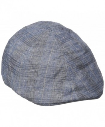 Van Heusen Men's Chambray IVY Flat Cap- Plaid Print - Navy - CO184T4KMU9