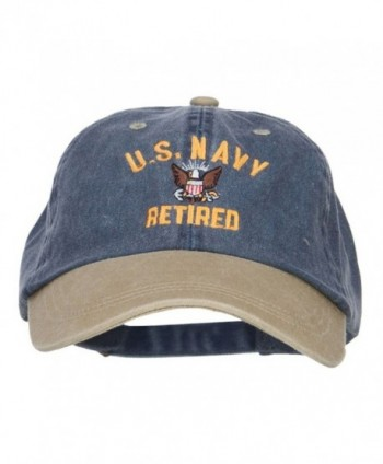 US Navy Retired Military Embroidered Two Tone Cap - Navy Khaki - CU12HV9QU1R