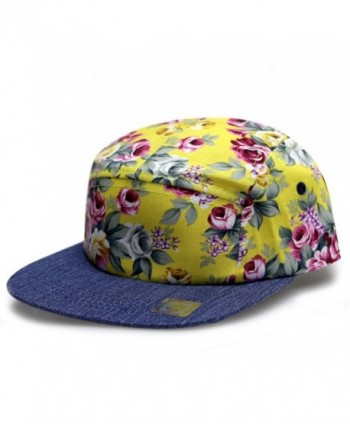 City Hunter Cn280P Plain Flower 5 Panel Biker Hat (3 Colors) - Rose Yellow - C611ZP1MZ1X