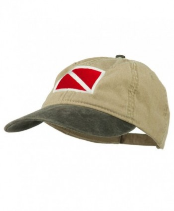 Scuba Dive Flag Embroidered Washed Pigment Dyed Cap - Black Khaki - CN11ONZ0QS1