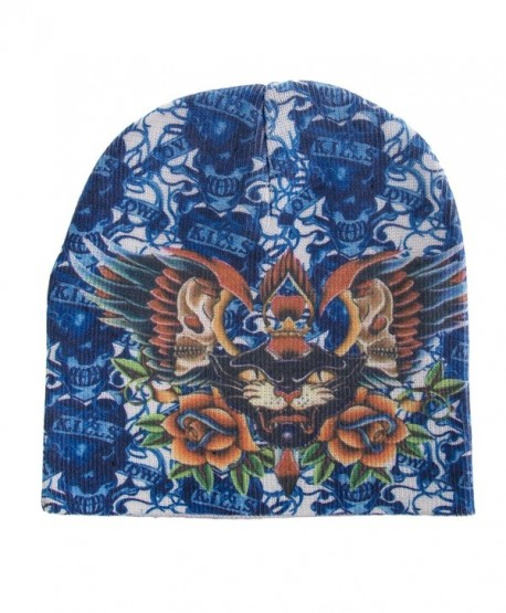 Lot 12 Beanie Skull Caps Kenny Hwang Tattoo Wear Blue Panther 1-Size Winter Hat - CA12KHPFZSV