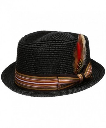 Men's Premium Straw Porkpie Fedora Hat - Black - CI12GXS53JR