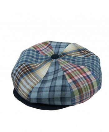 Emstate Irish Linen 8 Panel Applejack Newsboy Cap Made in USA Many Colors - Blue Plaid - CZ11D5W1V4B