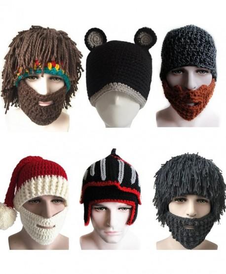 Yosang Windproof Ski Mask Warm Knitted Beanie Hat Cap - Yello & Brown Mask - C512N8O7IOX