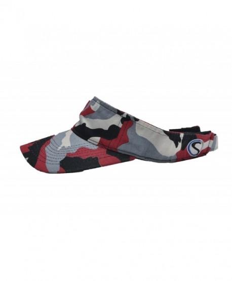 CAMOsport Men's Visor - Velcro Adjustable - Red-Black-White-Gray - CY11NBWGKU5