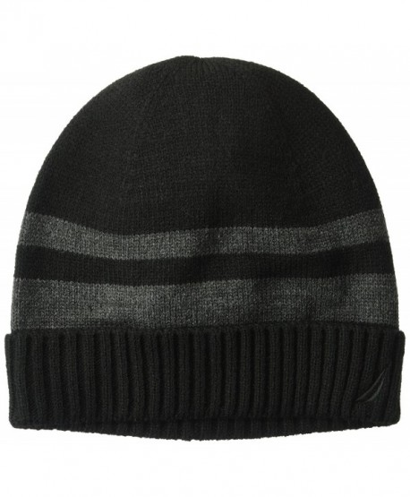 Nautica Men's Striped Hat With Ribbed Cuff - Black/Multi - CQ186NRL8R5