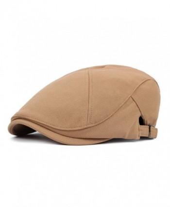 ZLS Men`s Women`s Cotton Flat Cap Ivy Irish Adjustable Newsboy Hat - Khaki - CS12O8O9FWI